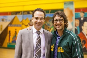 Josh and Tim Sheldon, Principal of Chalmer School of Excellence